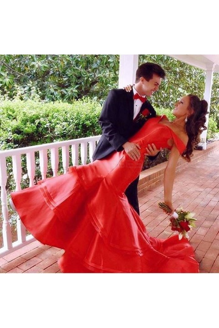 Mermaid Long Red Off-the-Shoulder Prom Formal Evening Party Dresses 3020791