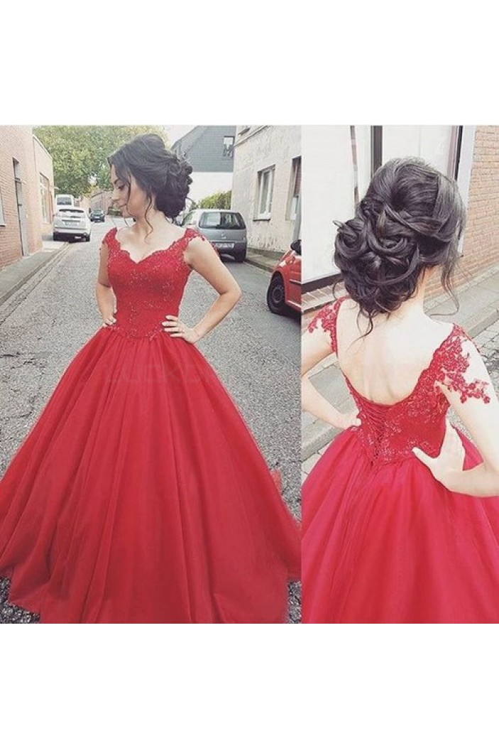 Long Red Lace Ball Gown Prom Formal Evening Party Dresses 3020795