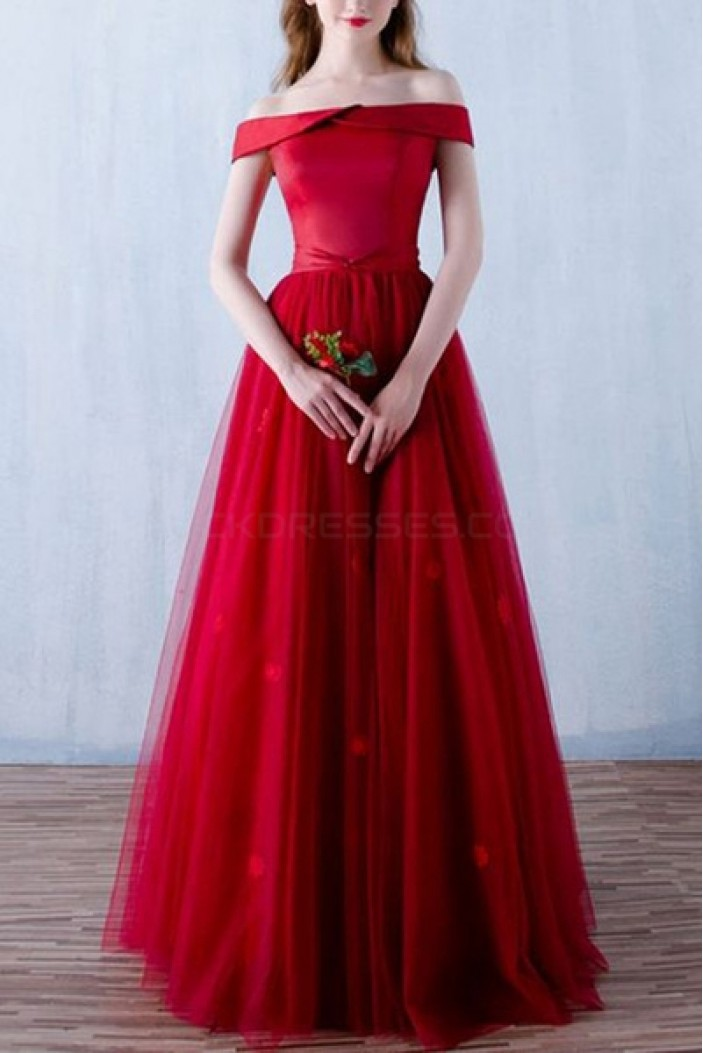 Long Red Off-the-Shoulder Prom Formal Evening Party Dresses 3020796