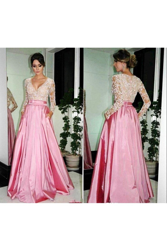 A-Line Long Sleeves V-Neck Prom Formal Evening Party Dresses 3020802