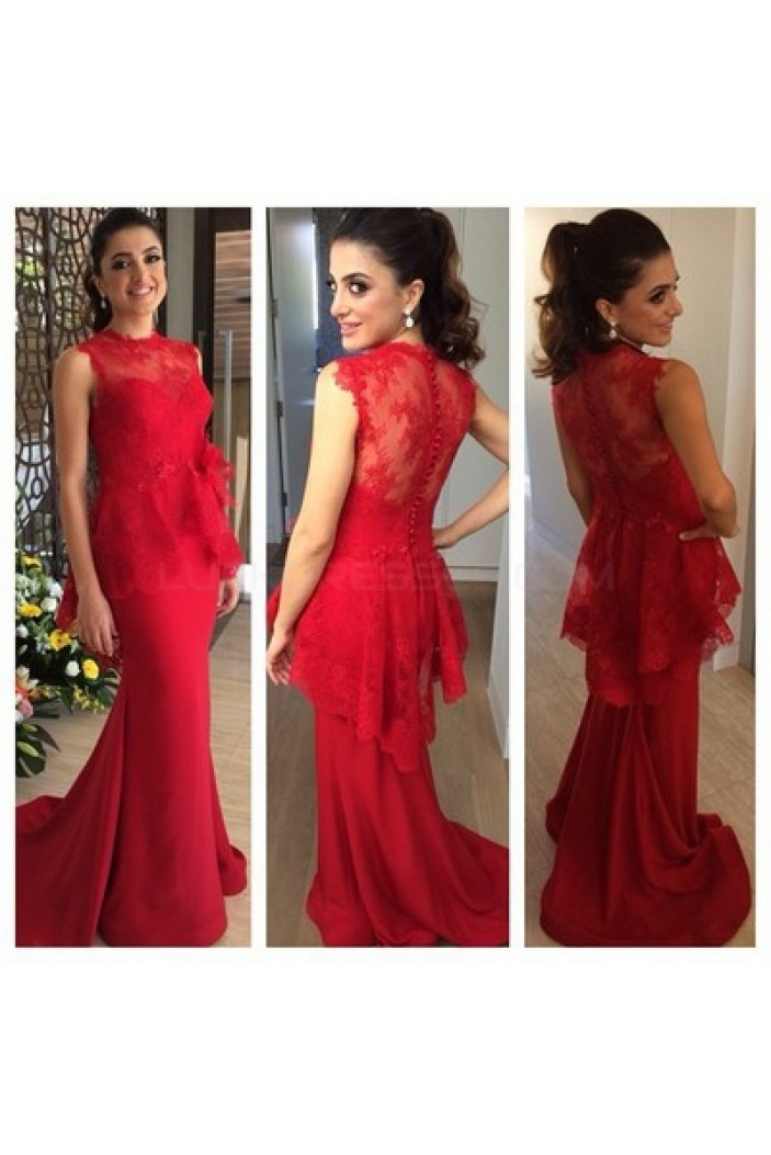 Mermaid Long Red Lace Prom Formal Evening Party Dresses 3020809