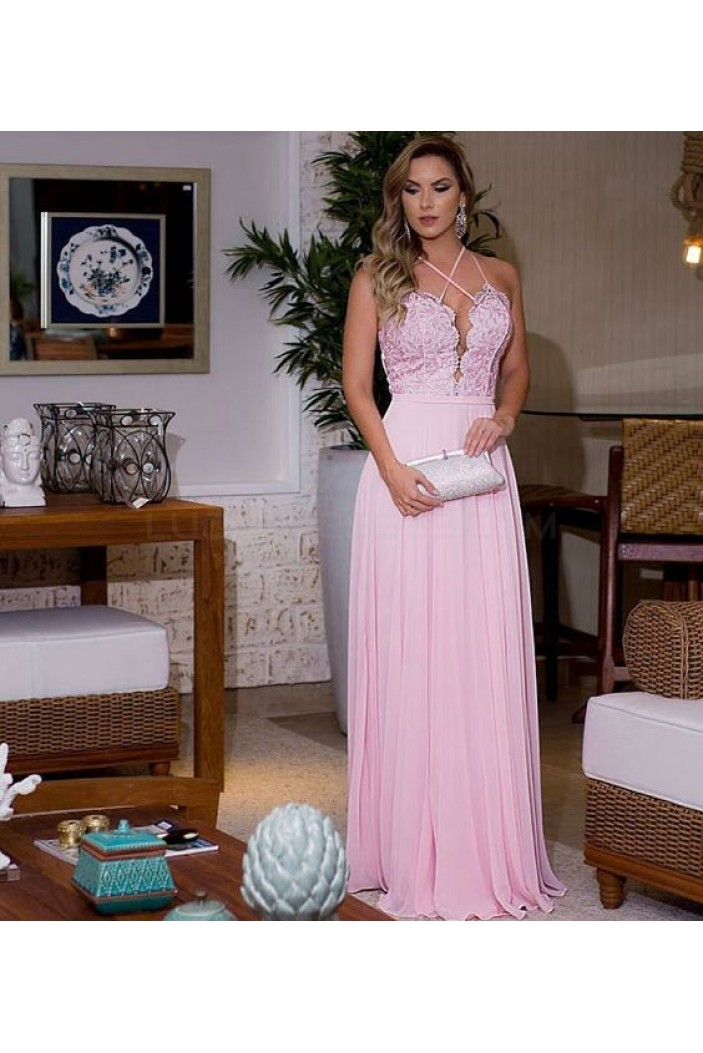 Long Pink Lace Chiffon Prom Formal Evening Party Dresses 3020812
