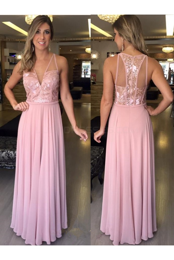 Long Pink Lace Chiffon Prom Formal Evening Party Dresses 3020814