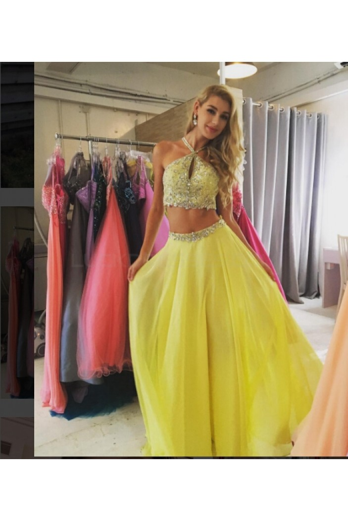 Beaded Two Pieces Yellow Prom Formal Evening Party Dresses 3020817
