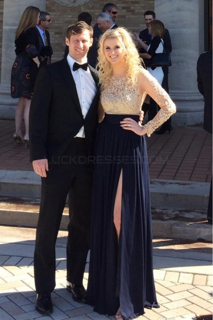 Long Sleeves Lace Chiffon Prom Formal Evening Party Dresses 3020824