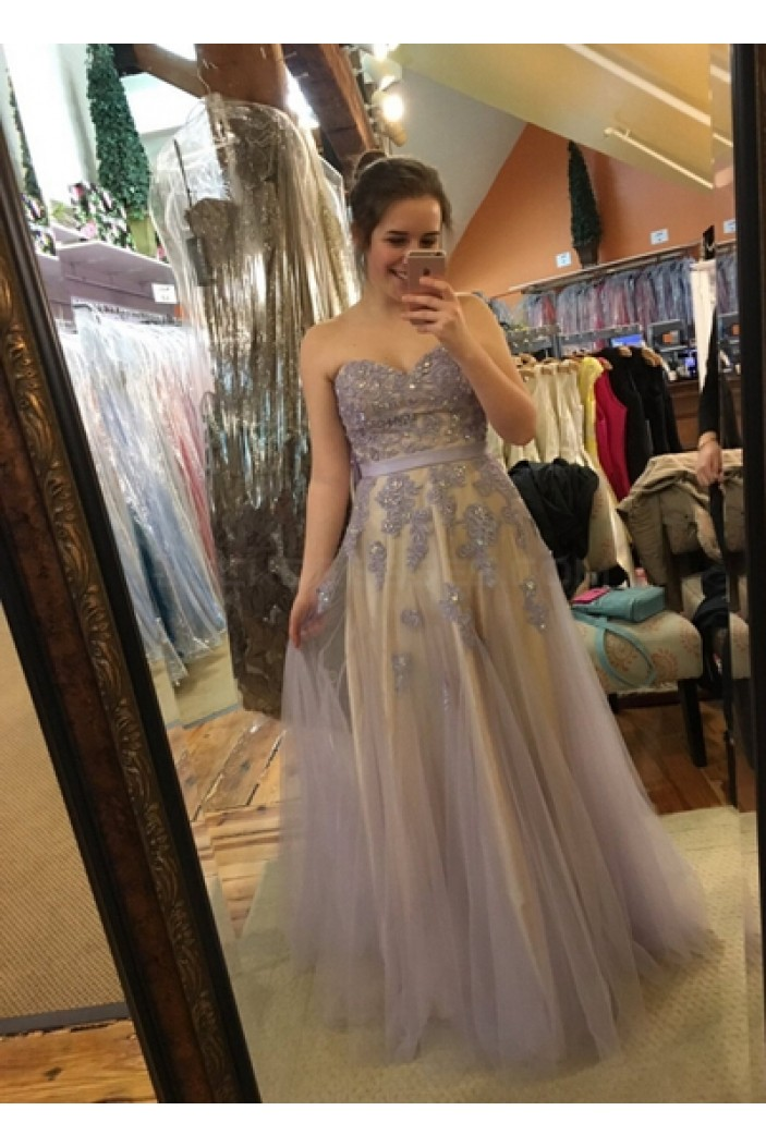 Elegant Lace Appliques Tulle Long Prom Formal Evening Party Dresses 3020832