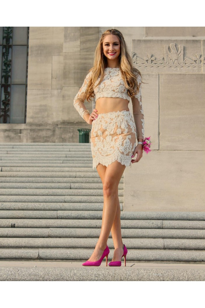 Long Sleeves Two Pieces Lace Appliques Short Prom Formal Evening Party Dresses 3020834