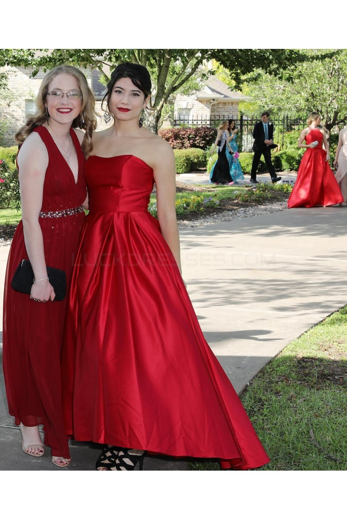 Long Red Strapless Prom Formal Evening Party Dresses 3020838