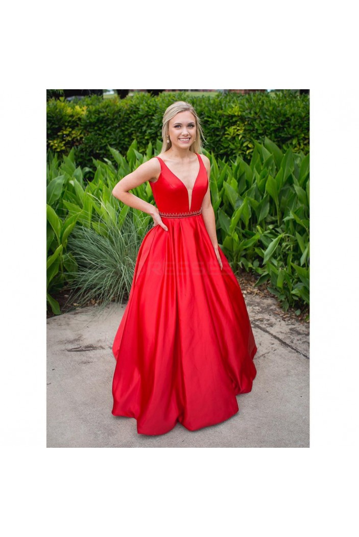 Long Red V-Neck Beaded Prom Formal Evening Party Dresses 3020839