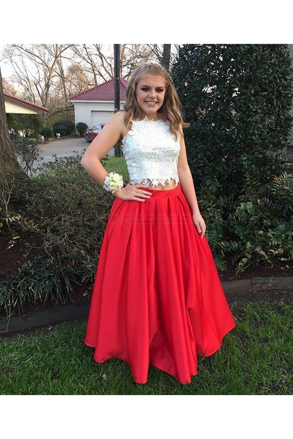 Two Pieces Red White Lace Prom Formal Evening Party