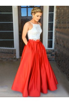 Two Pieces Red White Lace Prom Formal Evening Party Dresses 3020841
