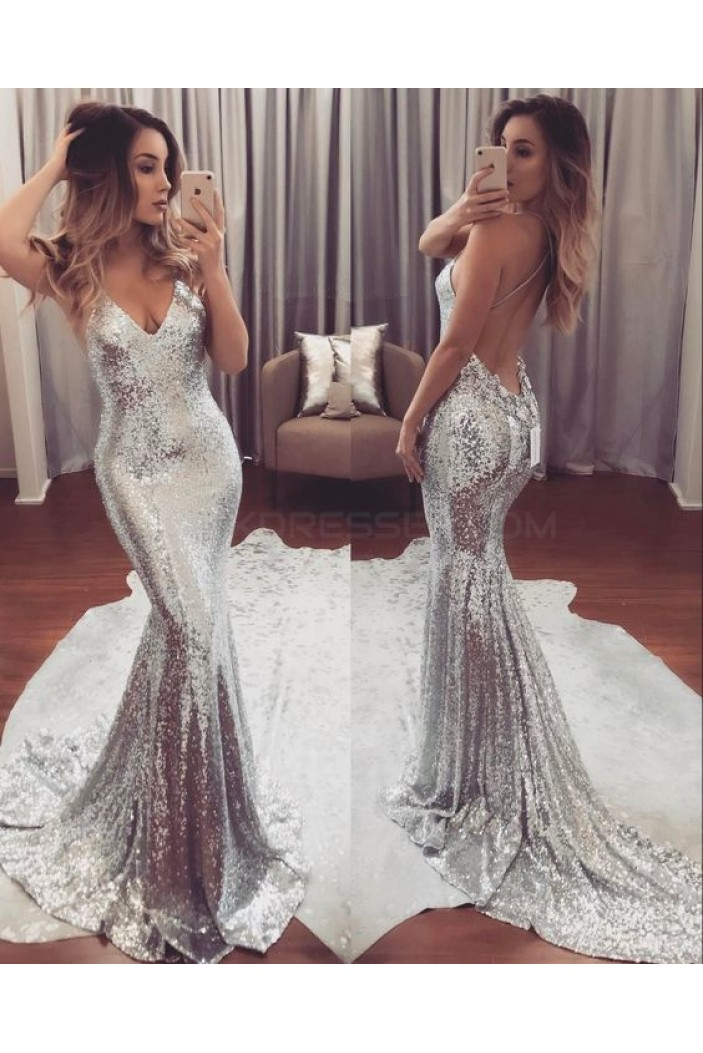 Mermaid Silver Sequins V-Neck Prom Formal Evening Party Dresses 3020843