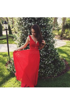 Long Red V-Neck Lace Chiffon Prom Formal Evening Party Dresses 3020844
