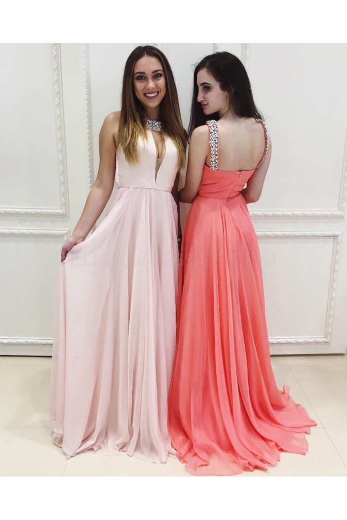 Beaded Long Chiffon Prom Formal Evening Party Dresses 3020851