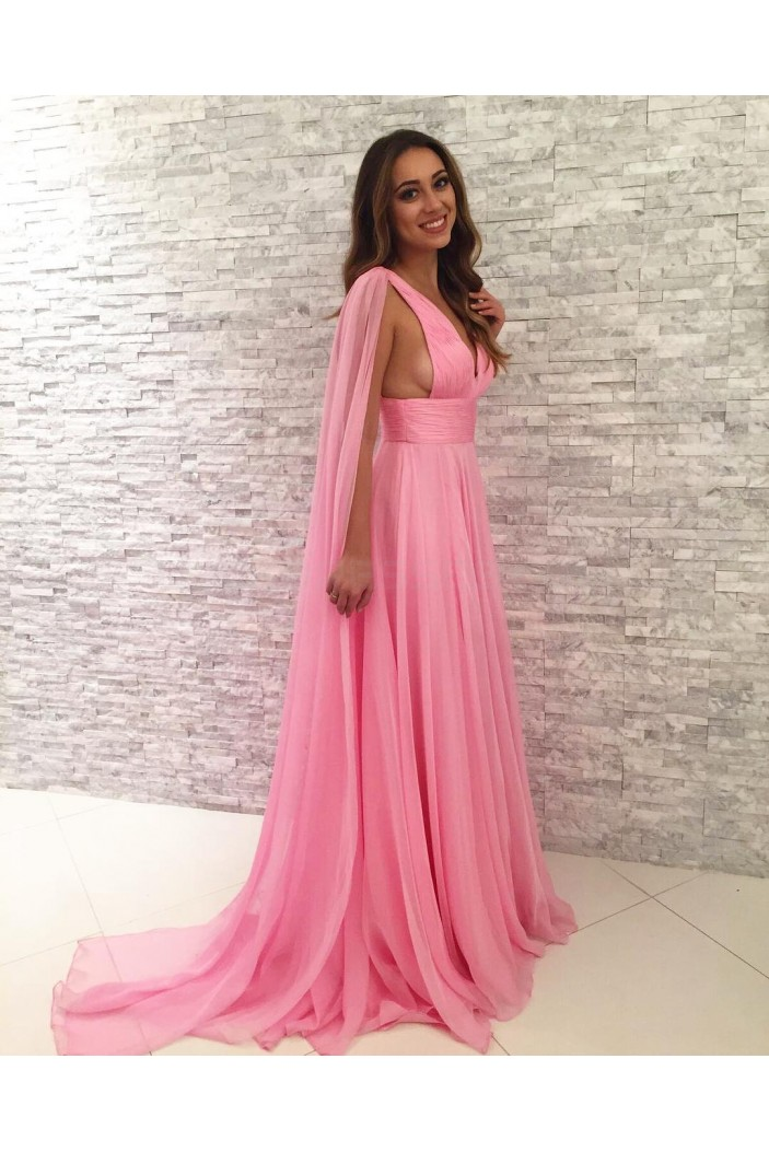 Long Pink V-Neck Chiffon Prom Formal Evening Party Dresses 3020853