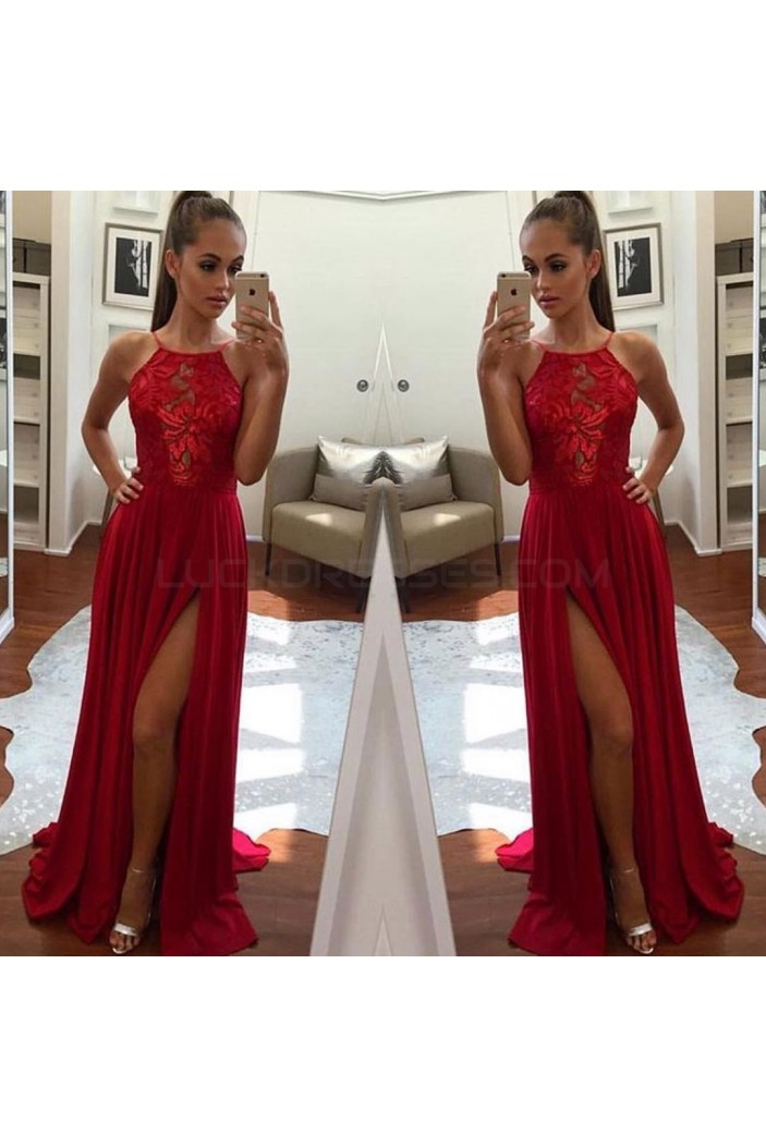 Long Red Lace Chiffon Prom Formal Evening Party Dresses 3020855