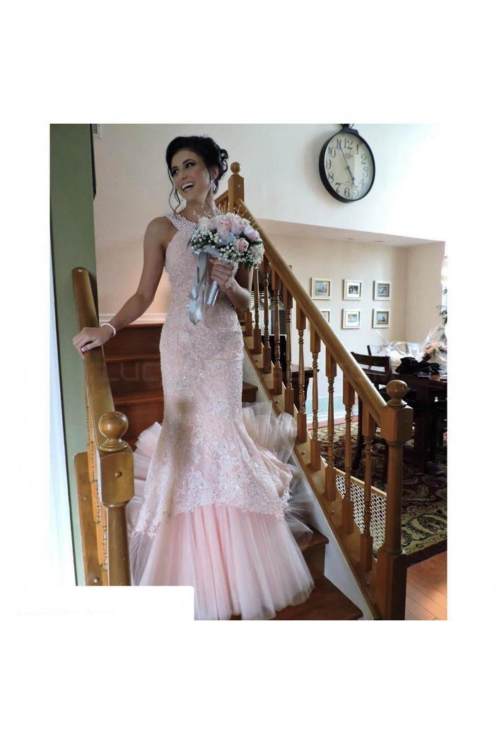 Mermaid Beaded Long Pink Lace Prom Formal Evening Party Dresses 3020856