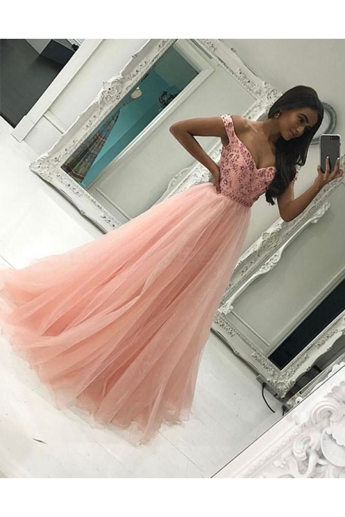 Beaded Long Pink Off-the-Shoulder Prom Formal Evening Party Dresses 3020859