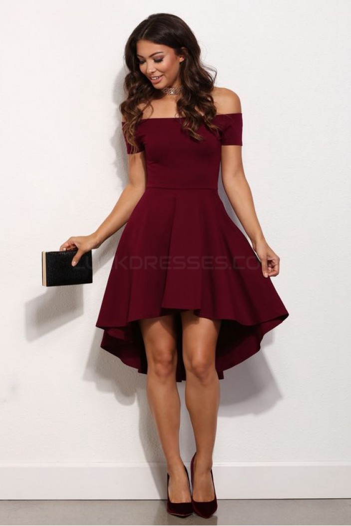 High Low Off-the-Shoulder Short Prom Homecoming Cocktail Graduation Dresses 3020862