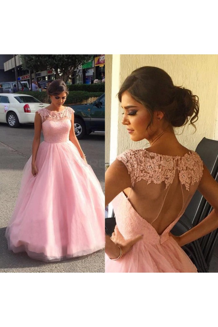 Ball Gown Long Pink Lace Prom Formal Evening Party Dresses 3020866