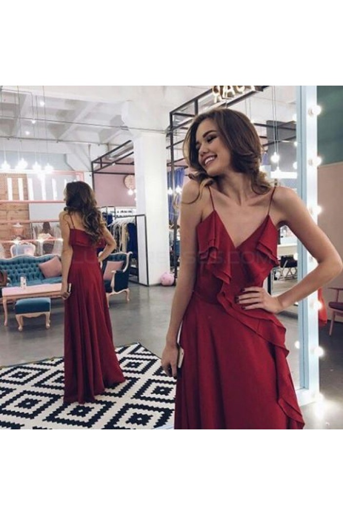 Long Burgundy Spaghetti Straps Prom Formal Evening Party Dresses 3020869