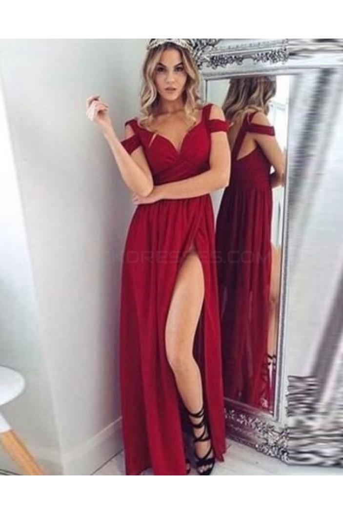 Long Chiffon Burgundy Prom Formal Evening Bridesmaid Dresses 3020874
