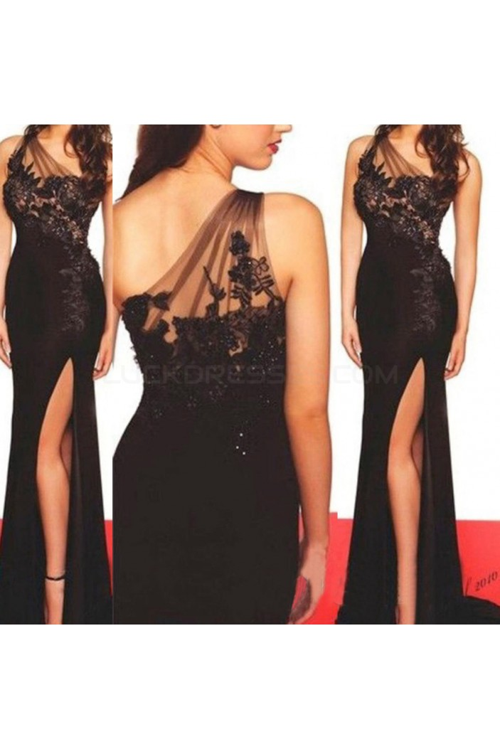 Long Black One-Shoulder Lace Prom Formal Evening Party Dresses 3020876