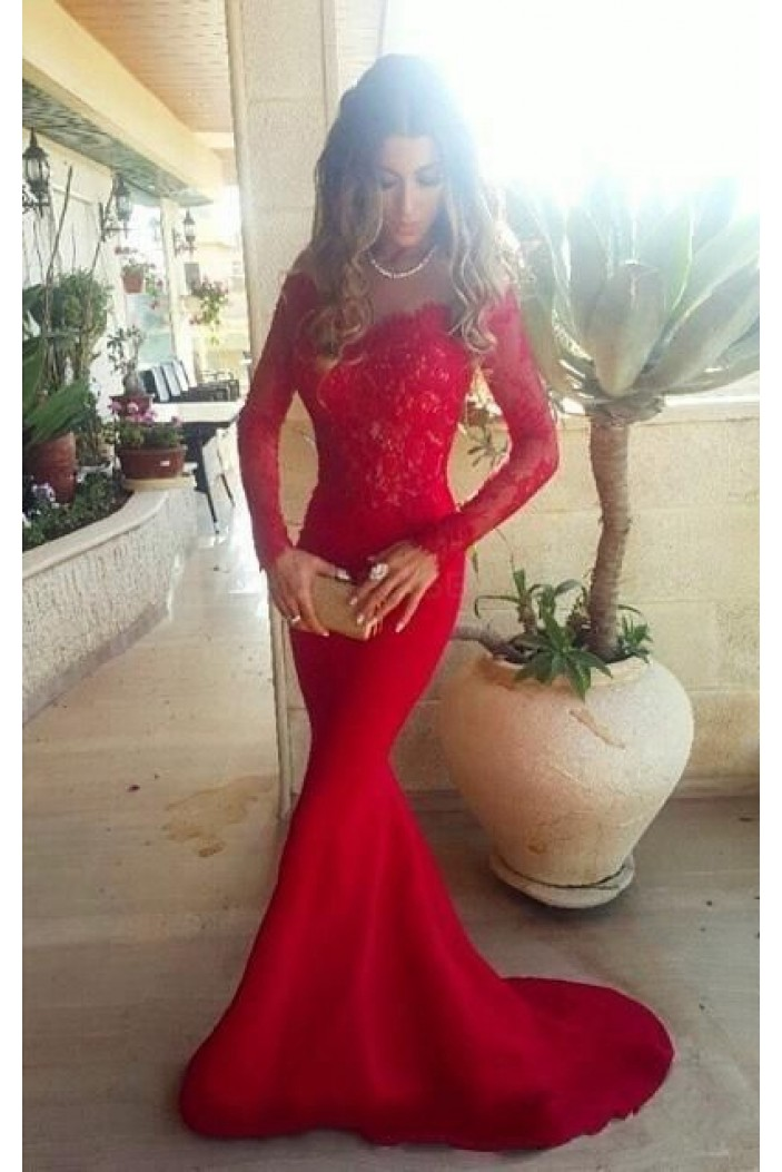 Long Sleeves Lace Mermaid Off-the-Shoulder Long Red Prom Formal Evening Party Dresses 3020880