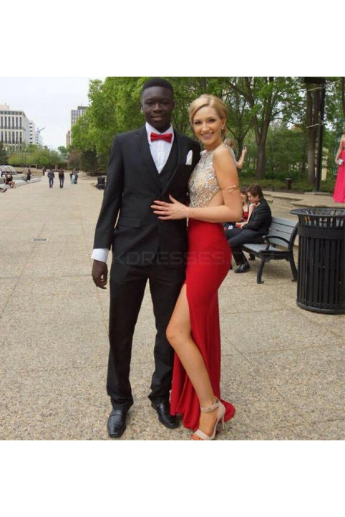 Beaded Long Red Prom Formal Evening Party Dresses 3020884