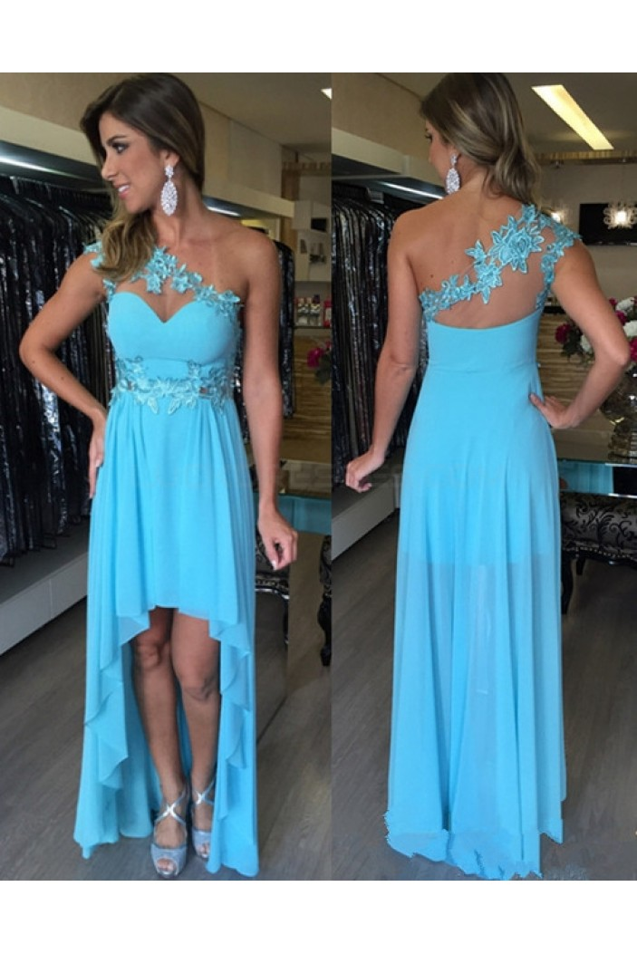 High Low One-Shoulder Lace Chiffon Short Prom Homecoming Cocktail Graduation Dresses 3020890