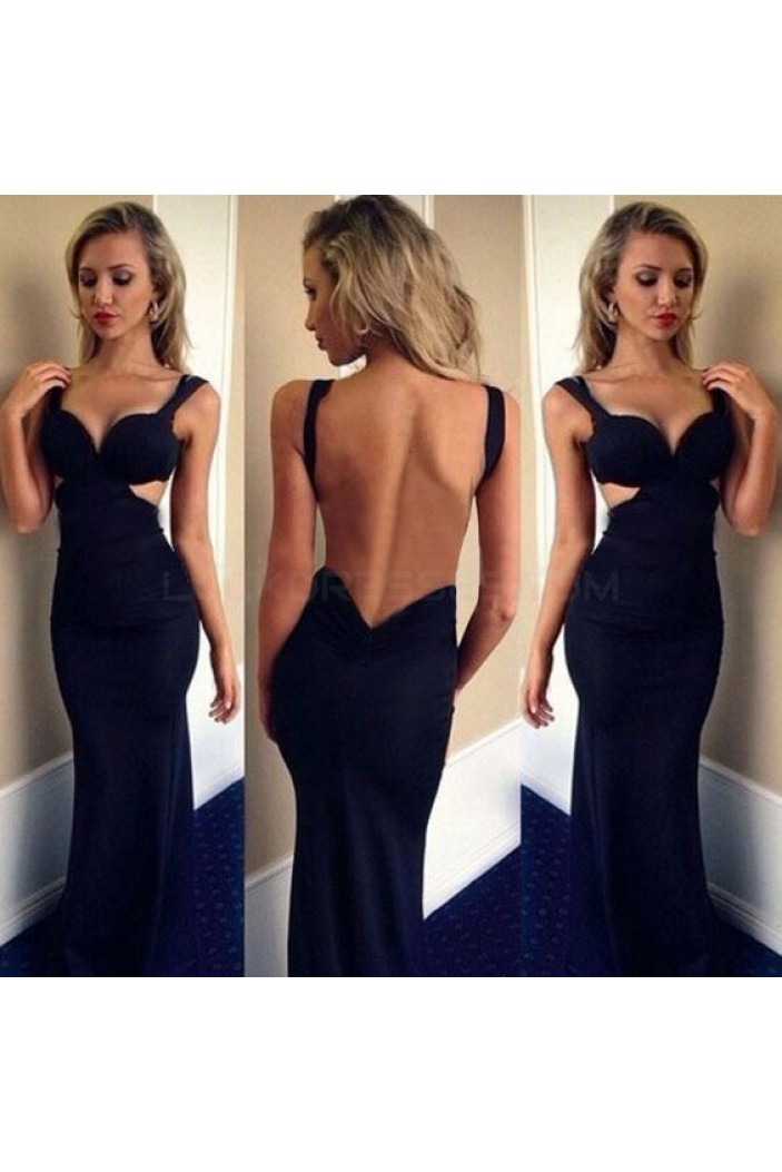 Mermaid Backless Long Blue Prom Formal Evening Party Dresses 3020892
