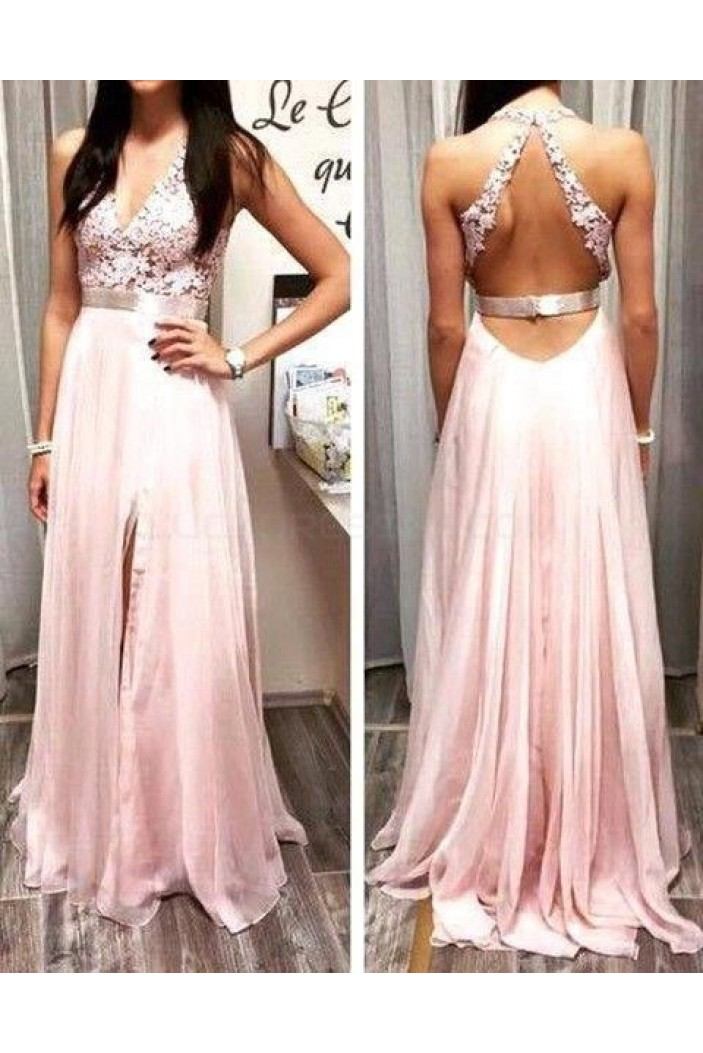 A-Line V-Neck Long Pink Lace Prom Formal Evening Party Dresses 3020893