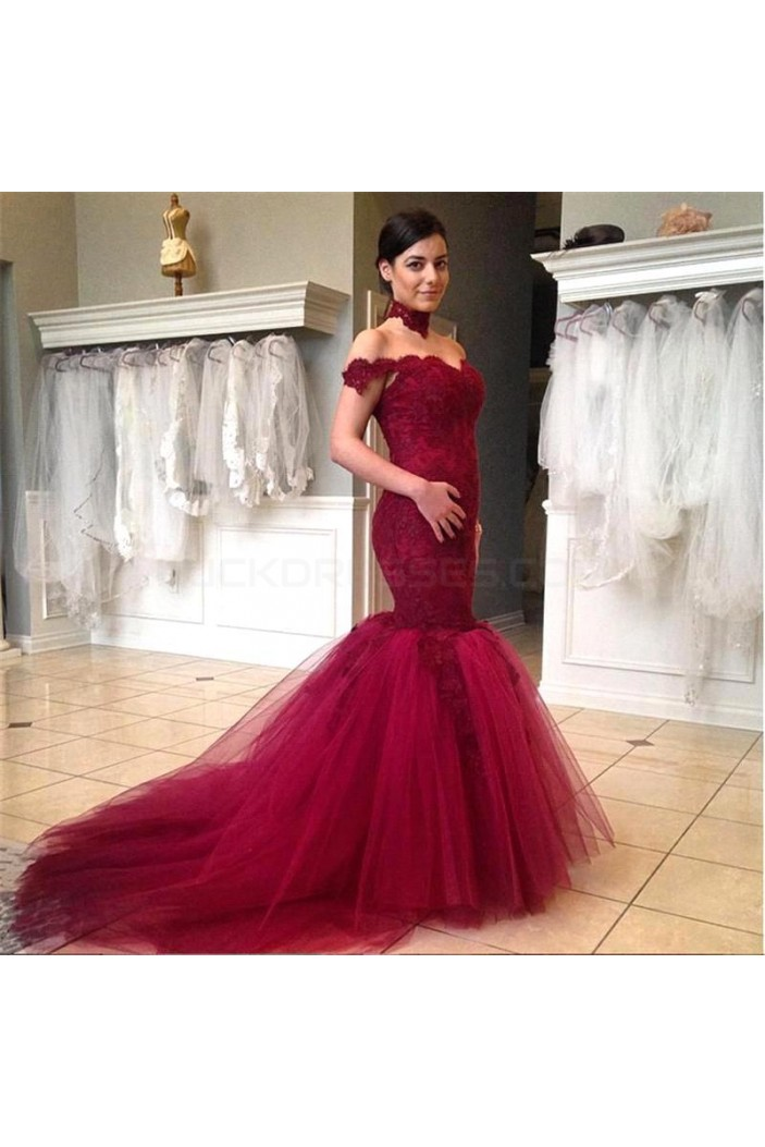 Mermaid Off-the-Shoulder Lace Long Prom Formal Evening Party Dresses 3020895