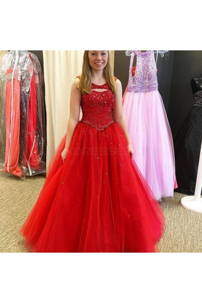 Beaded Long Red Ball Gown Prom Formal Evening Party Dresses 3020899
