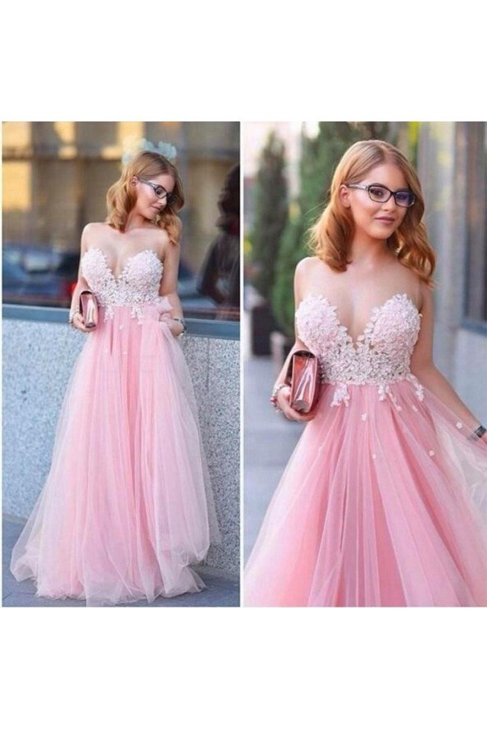 Long Pink Tulle White Lace Appliques Prom Formal Evening Party Dresses 3020904
