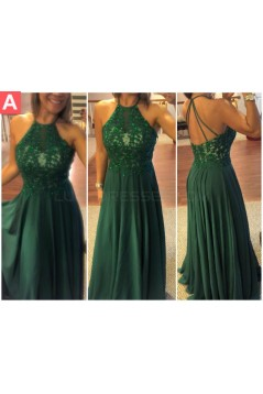 Long Green Lace Appliques and Chiffon Prom Formal Evening Party Dresses 3020907