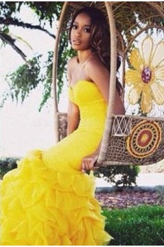 Mermaid Long Yellow Prom Formal Evening Party Dresses 3020911