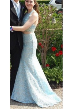 Halter Mermaid Two Pieces Beaded Lace Prom Formal Evening Party Dresses 3020914