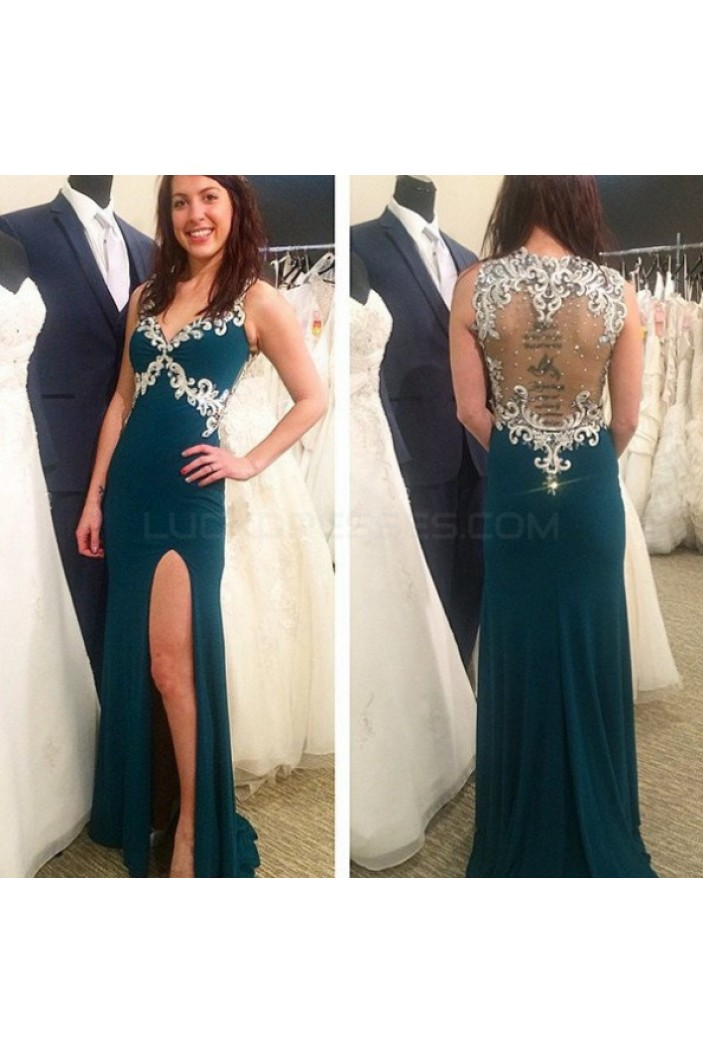 Lace Appliques Long Prom Formal Evening Party Dresses 3020917