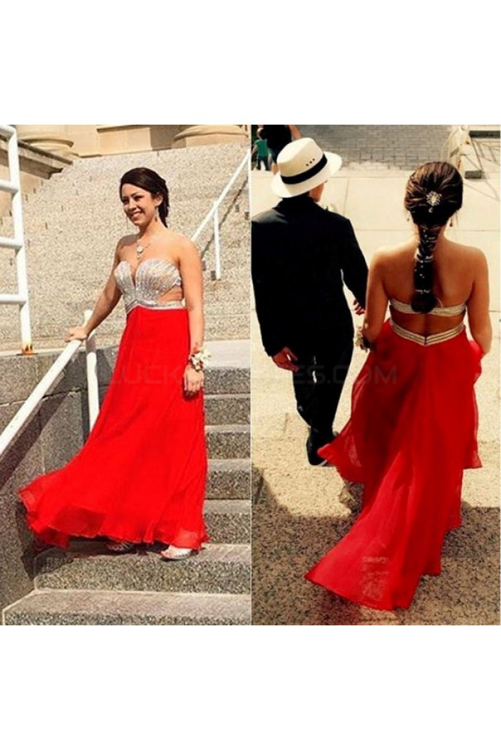 Beaded Long Red Chiffon Prom Formal Evening Party Dresses 3020919