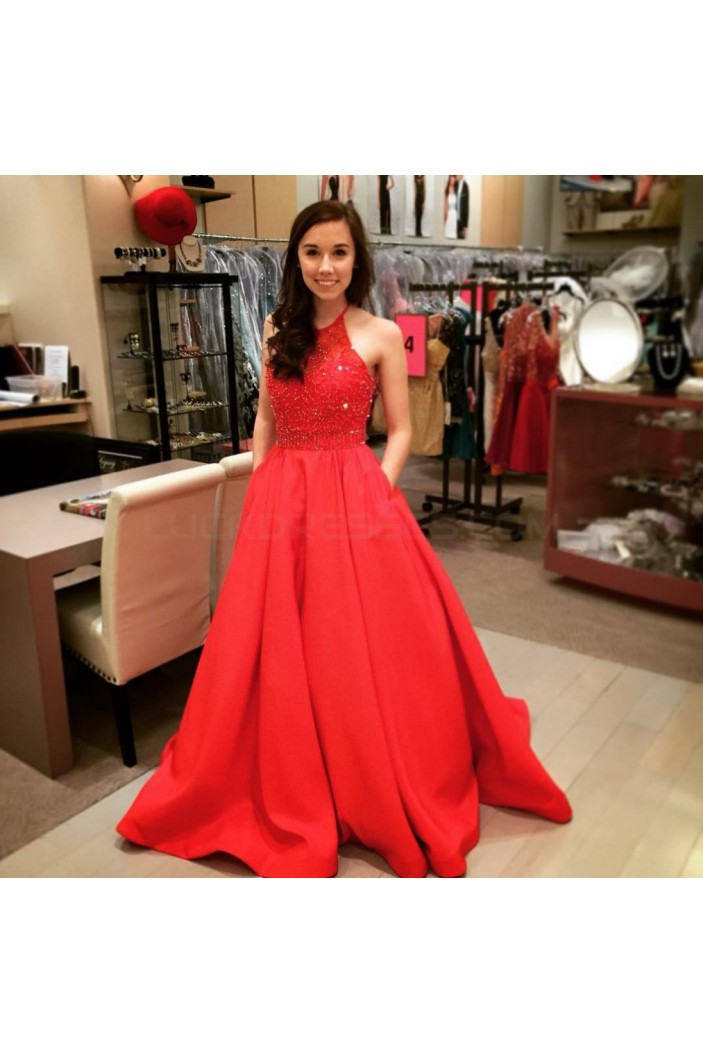 Long Red Beaded Prom Formal Evening Party Dresses 3020922