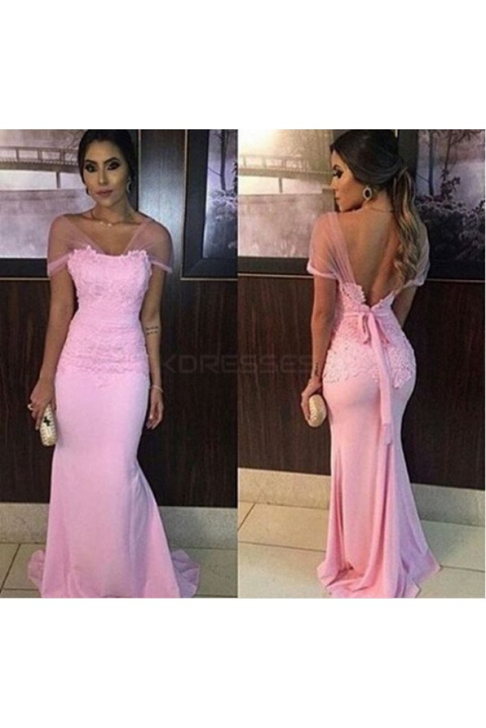 Mermaid Long Pink Lace Appliques Prom Formal Evening Party Dresses 3020923