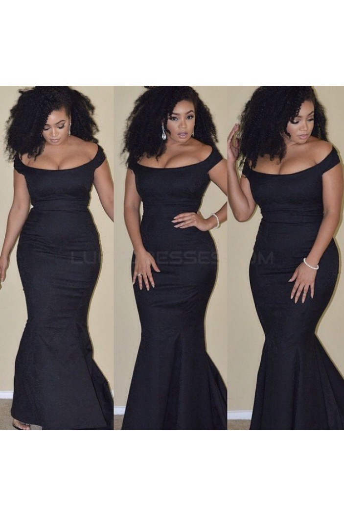 Mermaid Off-the-Shoulder Long Black Prom Formal Evening Party Dresses 3020925