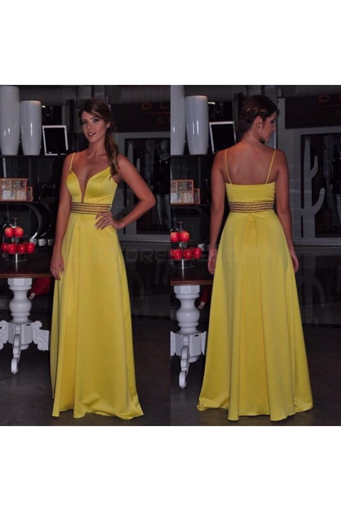 Long Yellow Spaghetti Straps Prom Formal Evening Party Dresses 3020930