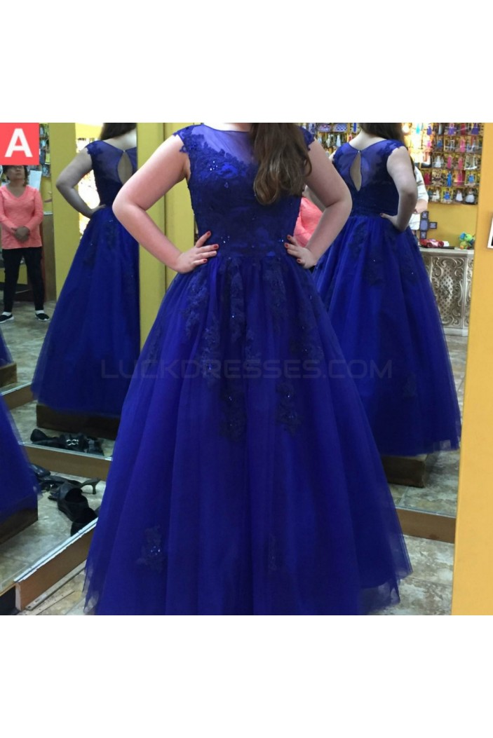 Long Royal Blue Lace Prom Formal Evening Party Dresses 3020935