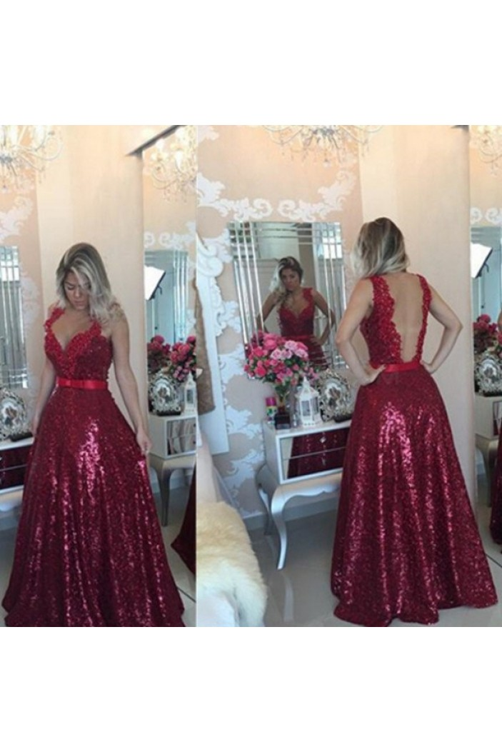 A-Line V-Neck Sequins Long Prom Formal Evening Party Dresses 3020937