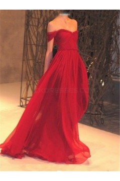 Long Red Off-the-Shoulder Chiffon Prom Formal Evening Party Dresses 3020940