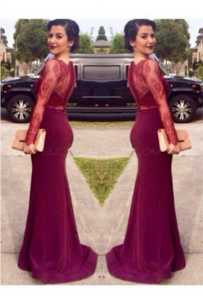 Mermaid Long Sleeves Lace Prom Formal Evening Party Dresses 3020941