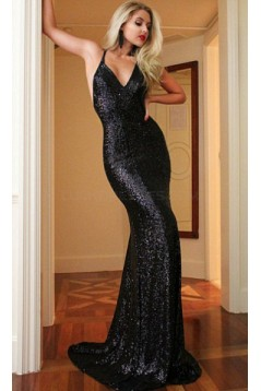 Long Black Sequins Mermaid Prom Formal Evening Party Dresses 3020943