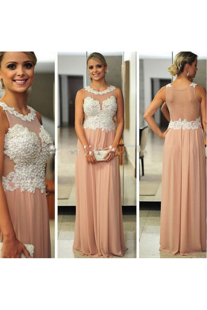 Beaded Lace Appliques Chiffon Long Prom Formal Evening Party Dresses 3020947